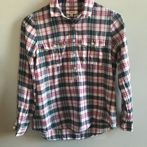 Madewell blue and pink plaid popover shirt